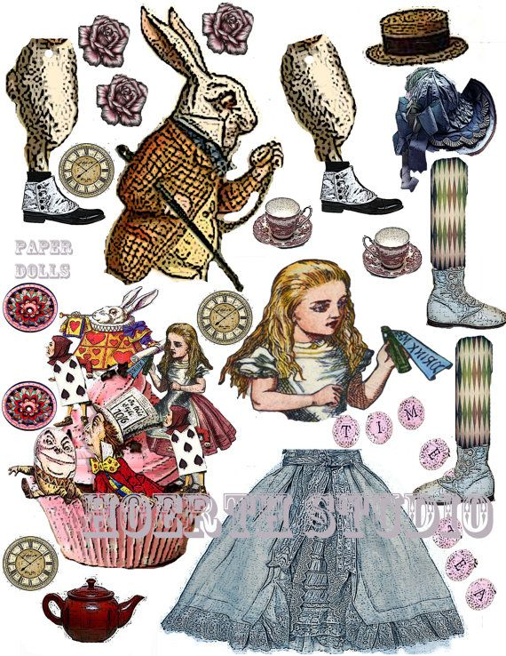 Alice in Wonderland paper doll collage by Raidersofthelostart