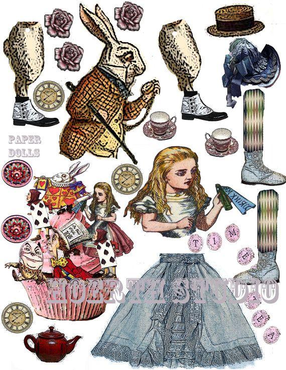 Alice in Wonderland paper doll collage by Raidersofthelostart