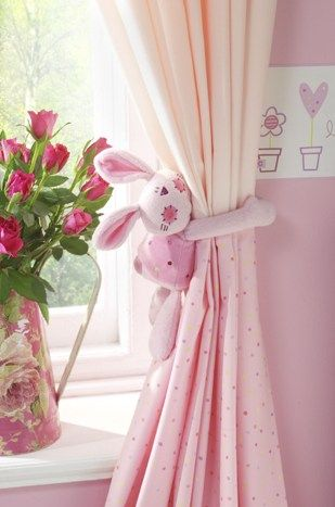 Nursery Curtain With A Stuffed Animal Tie Back Adorable