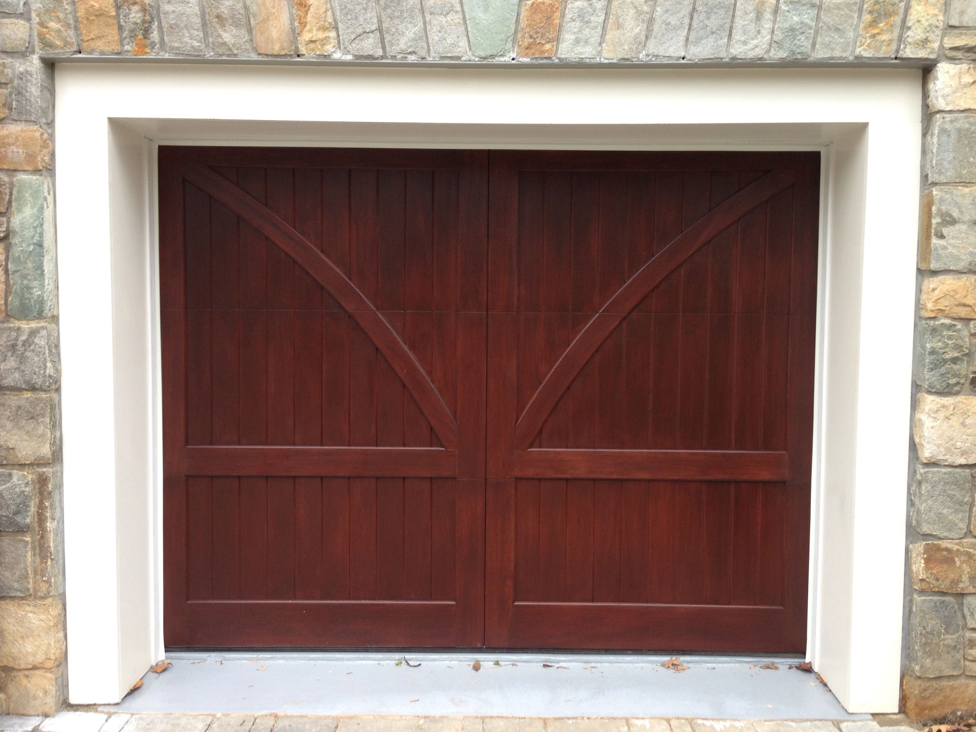 Custom Stained Clear Red Grandis Carriage House Wood Garage Door By