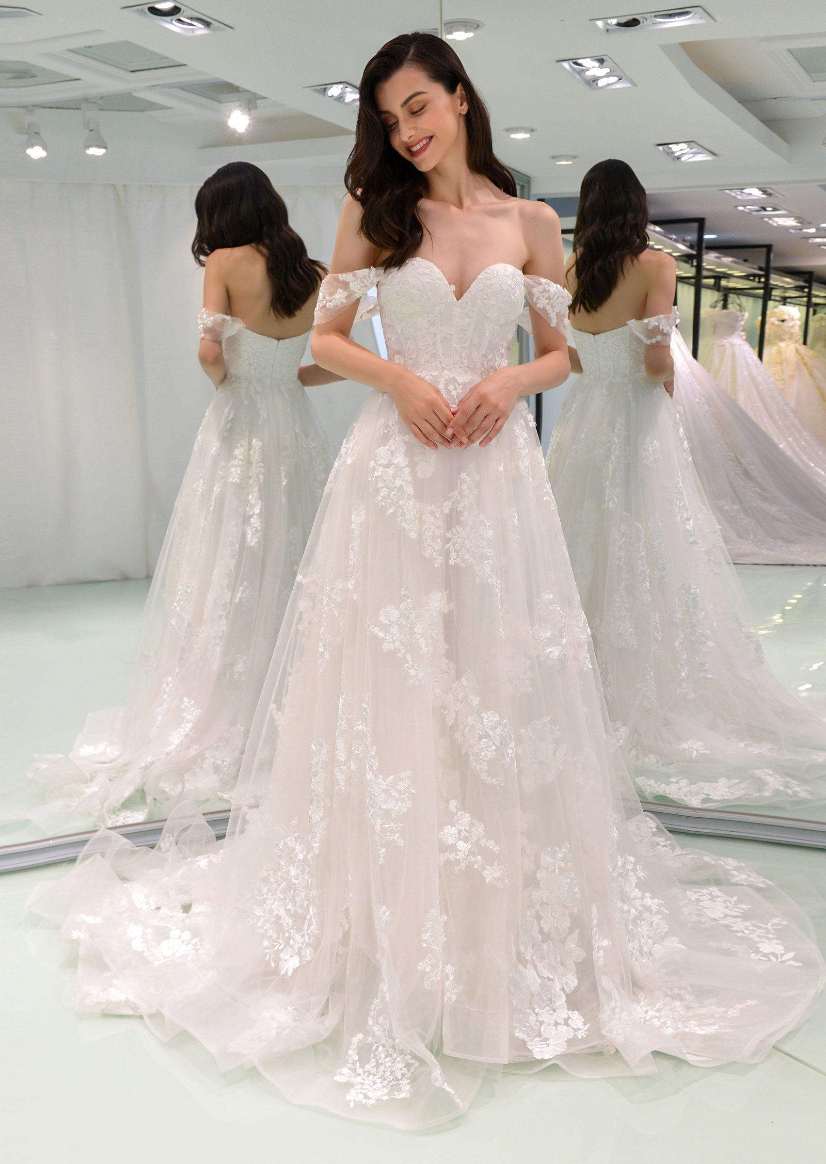 Appliques off the shoulder aline wedding dress bridal gowns