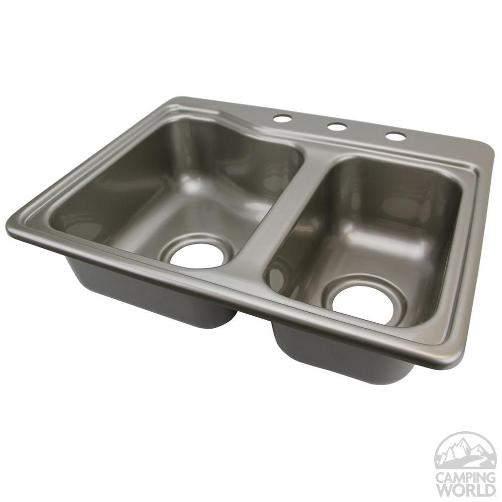 double kitchen sink - stainless steel color | sinks, double