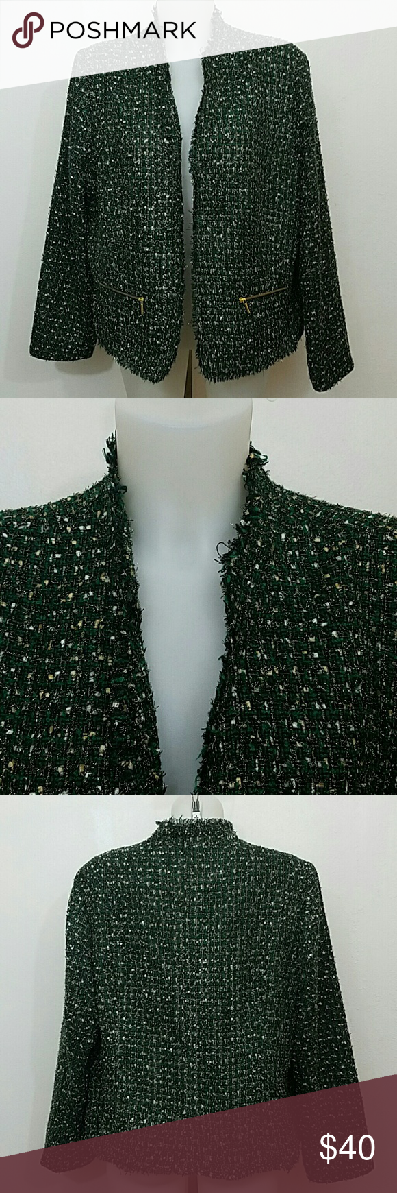 """Chico's Jacket Blazer Chico's Jacket Blazer. The edges are fringed and makes it a very beautiful Jacket. The colors are green,black,and a little good and silver.  ??Size Xlarge  ?? Condition Great  ?? No Stains ?? No Rips or Tears ?? Send me an Offer Prices are negotiable  ??Ships same day no later than the next day! ??Message me with any questions  ?? Bust 46"""" ??Length 25"""" Chico's Jackets & Coats Blazers"""