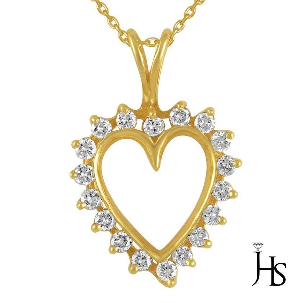 Womenus k yellow gold ct round diamond heart shape pendant
