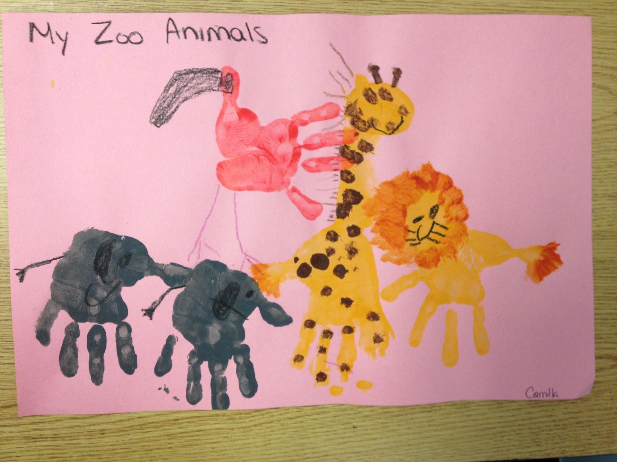 Hand Print Zoo Animals