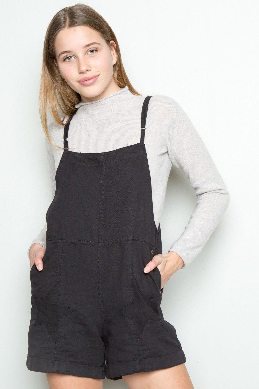 Black t shirt dress brandy melville - Brandy Melville Selene Star Overall Shorts Clothing