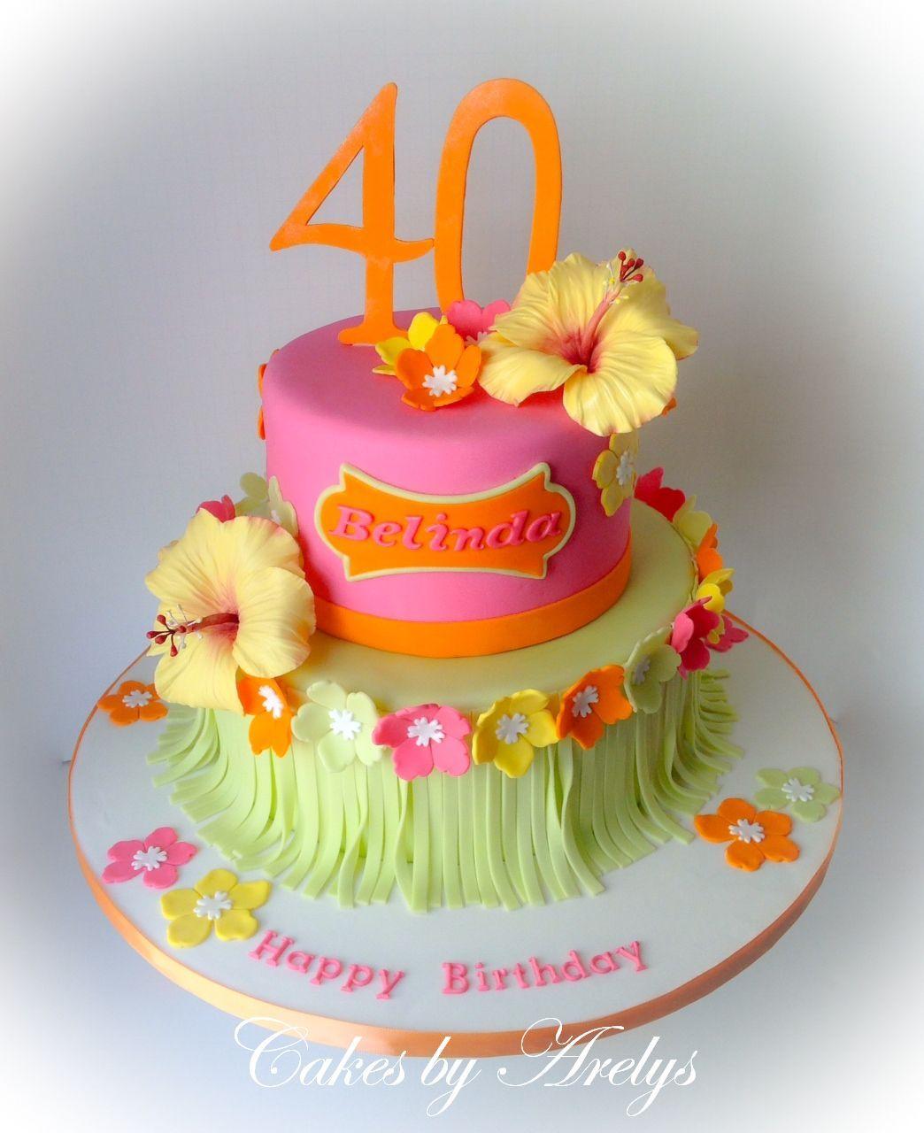 Tropical hawaiian theme cake with sugar hibiscus flowers tropical hawaiian theme cake with sugar hibiscus flowers more izmirmasajfo