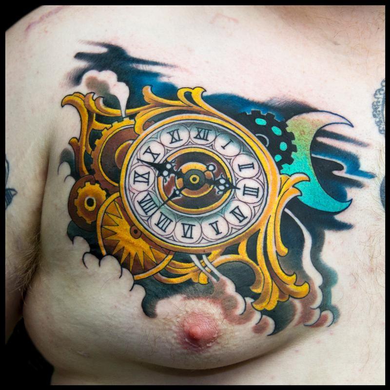 Austin Watercolor Tattoo: Tattoos, Watercolor Tattoo, Clock