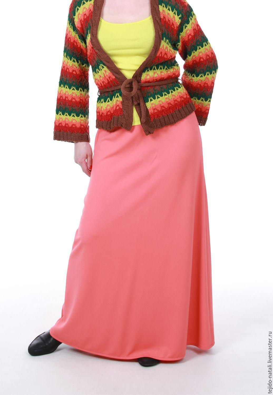 Купить Трикотажная юбка в пол - коралловый, юбка трикотажная, юбка трапеция, трикотажная юбка