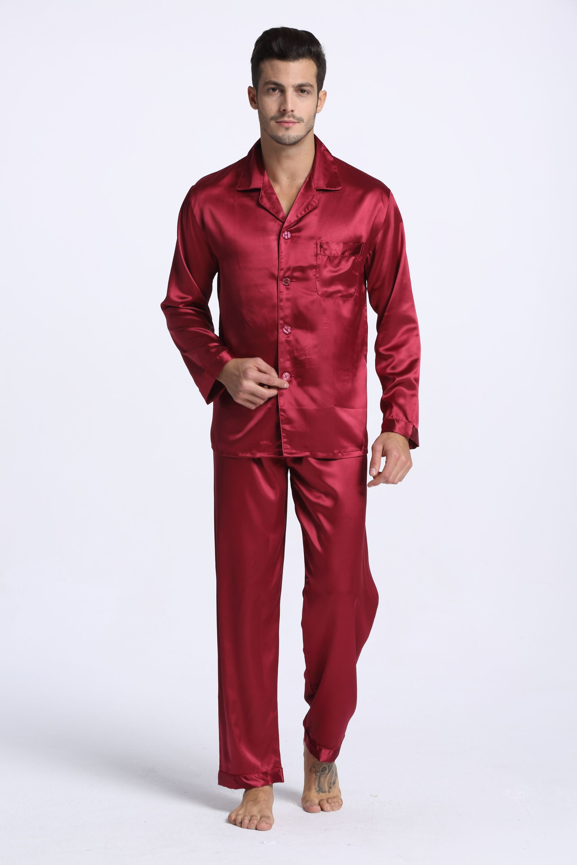 Underwear & Sleepwears Men's Sleep & Lounge Loyal Hot Sale Men Silk Pajama Sets Summer Mens Pajamas Sexy Sleepwear Male Short-sleeve Shorts Pajamas Fashion Men Homewear Sets Beautiful And Charming
