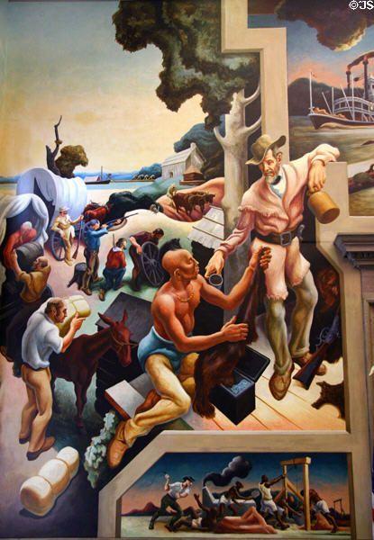 Pioneer Settlers Traders On Social History Of Missouri Mural 1935 By Thomas Hart Benton At Misso Thomas Hart Benton Thomas Hart Benton Paintings Art Thomas