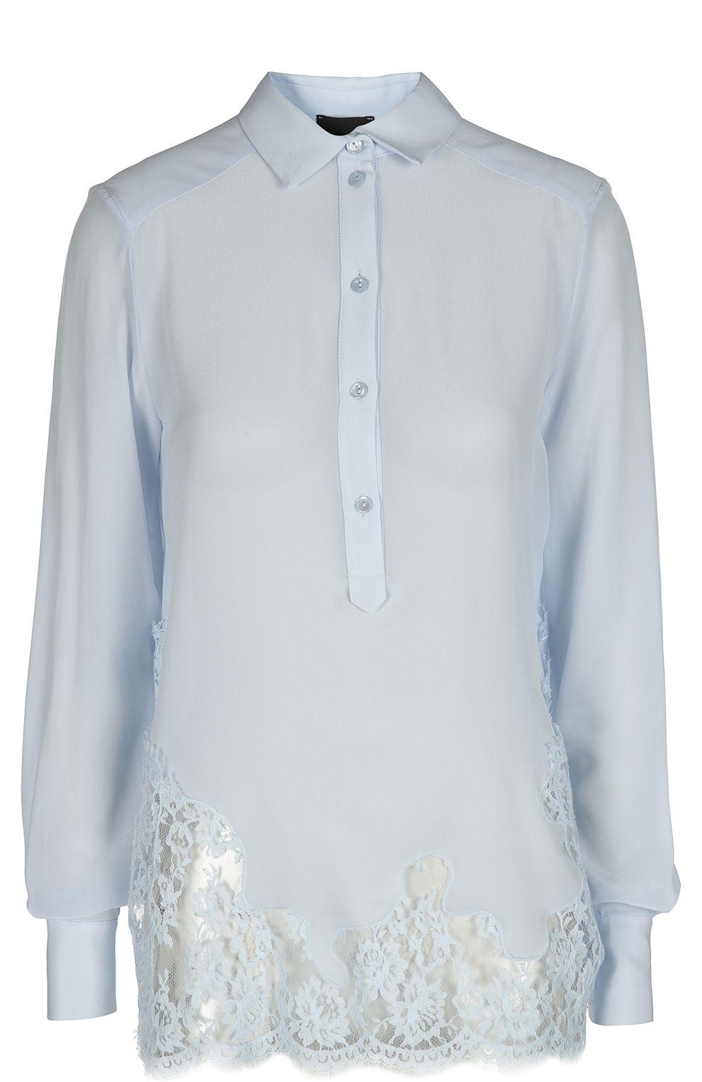 ad4a7f206 Женская синяя удлиненная шелковая блуза с кружевной вставкой ERMANNO-ERMANNO  SCERVINO — купить за 31800 руб. в интернет-магазине ЦУМ, арт. 38T/CM29 V1