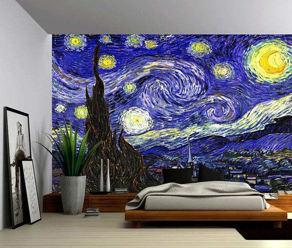 Starry Night Large Wall Mural Self Adhesive Vinyl Etsy Large Wall Murals Wall Murals Wall Wallpaper