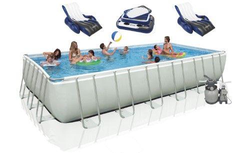 Intex 18\' x 9\' x 52\' Ultra Frame Rectangular Swimming Pool (Blue ...