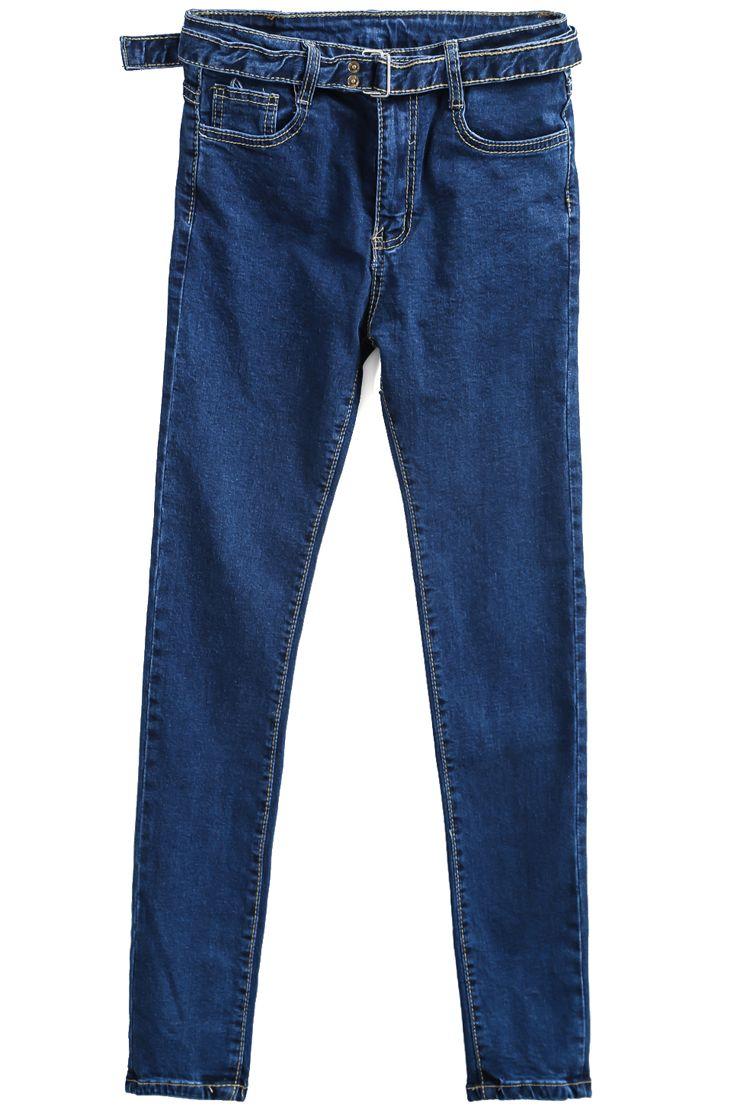 the belt detail is cool!  Blue Slim Pockets Belt Denim Pant 18.50