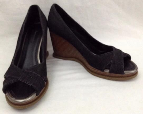48ba85bdff2 Black and Brown Open Toe Wedge Heels by American Eagle Sz 7.5  AmericanEagle   PlatformsWedges