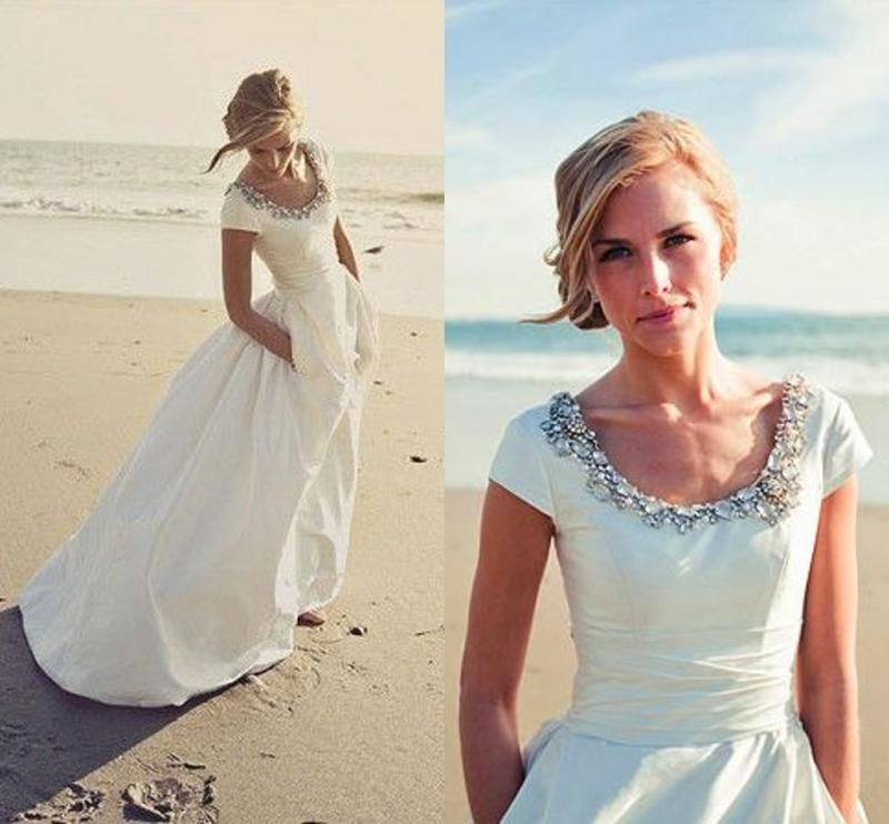 Click to Buy << 2016 Cheap Beach Wedding Dress Crystal Scoop Neck ...