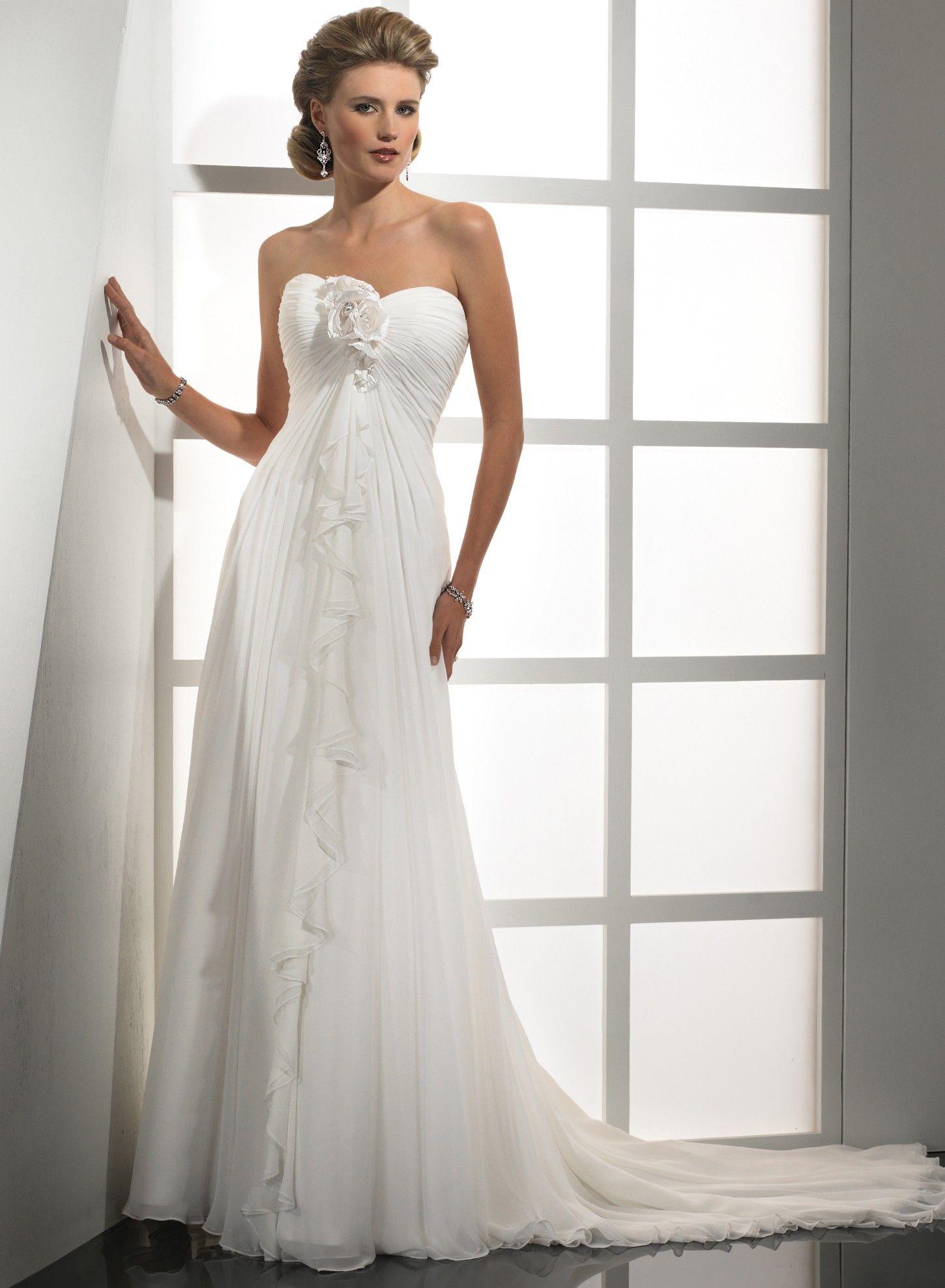 a line chiffon wedding dresses