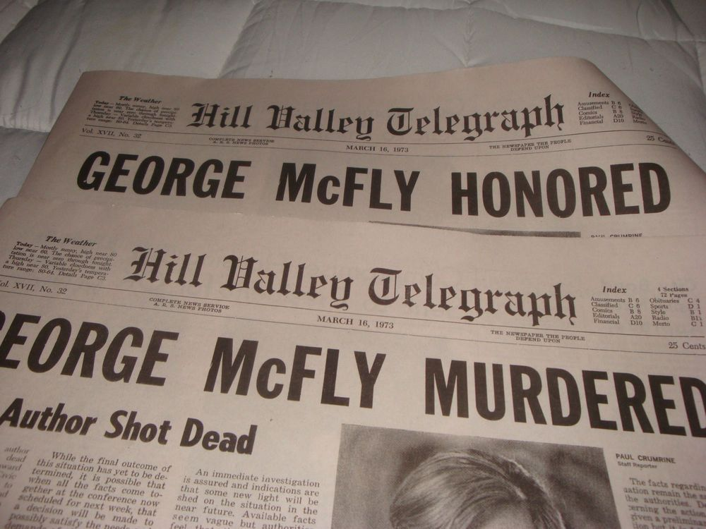 back to the future hill valley telegraph george mcfly real newspaper