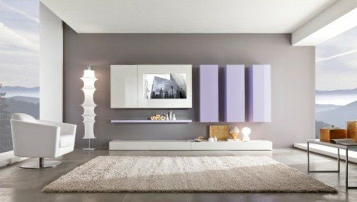 Déco Salon \u2013 couleur de peinture pour salon en gris et blanc tapis - Peindre Un Meuble En Gris