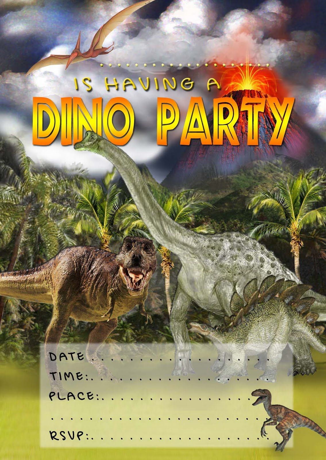 FREE Kids Party Invitations: Dinosaur Invitation | Reese\'s Party ...