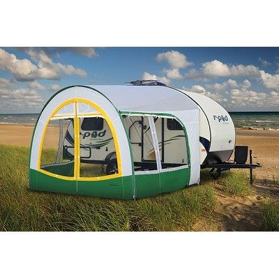 R DOME AWNING 13 WHITE W YELLOW AND GREEN The