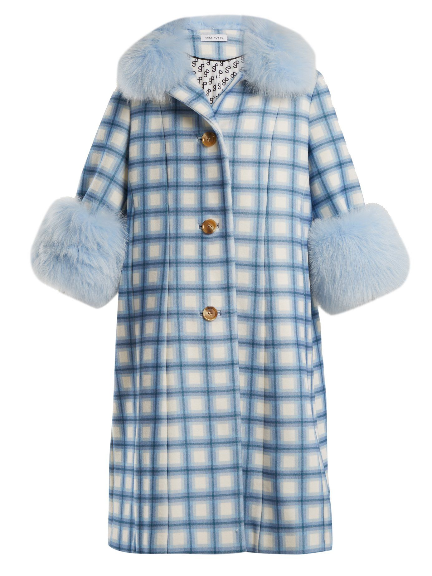 9dc5db2e169f4 Yvonne fur-trimmed checked-wool coat