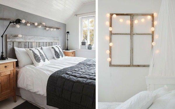 Vintage Schlafzimmermöbel ~ Lichterketten dekoideen schlafzimmer vintage stil dekoration