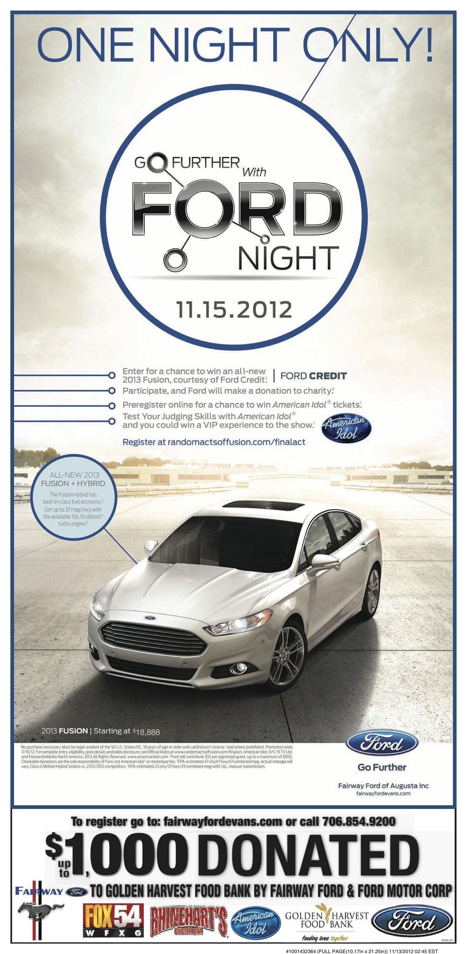 Win a Ford Fusion courtesy of Ford Credit Ford