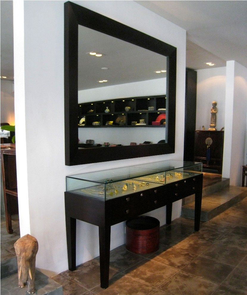 Exceptional Hospitality:Minimalist Big Square Mirror And Square Table Showcase With Top  Glasses Bali Furniture From