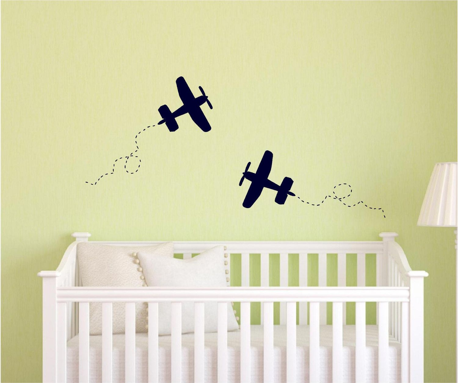 Set of 6 vinyl wall decals - airplane with trail - perfect for ...