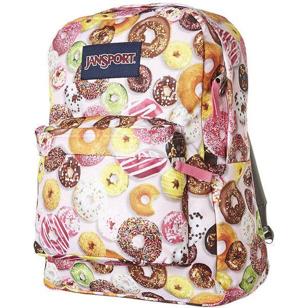 Jansport Superbreak Backpack ($36) ❤ liked on Polyvore featuring bags, backpacks, accessories, backpack, mochilas, multi donuts, jansport rucksack, padded backpack, jansport and polyester backpack