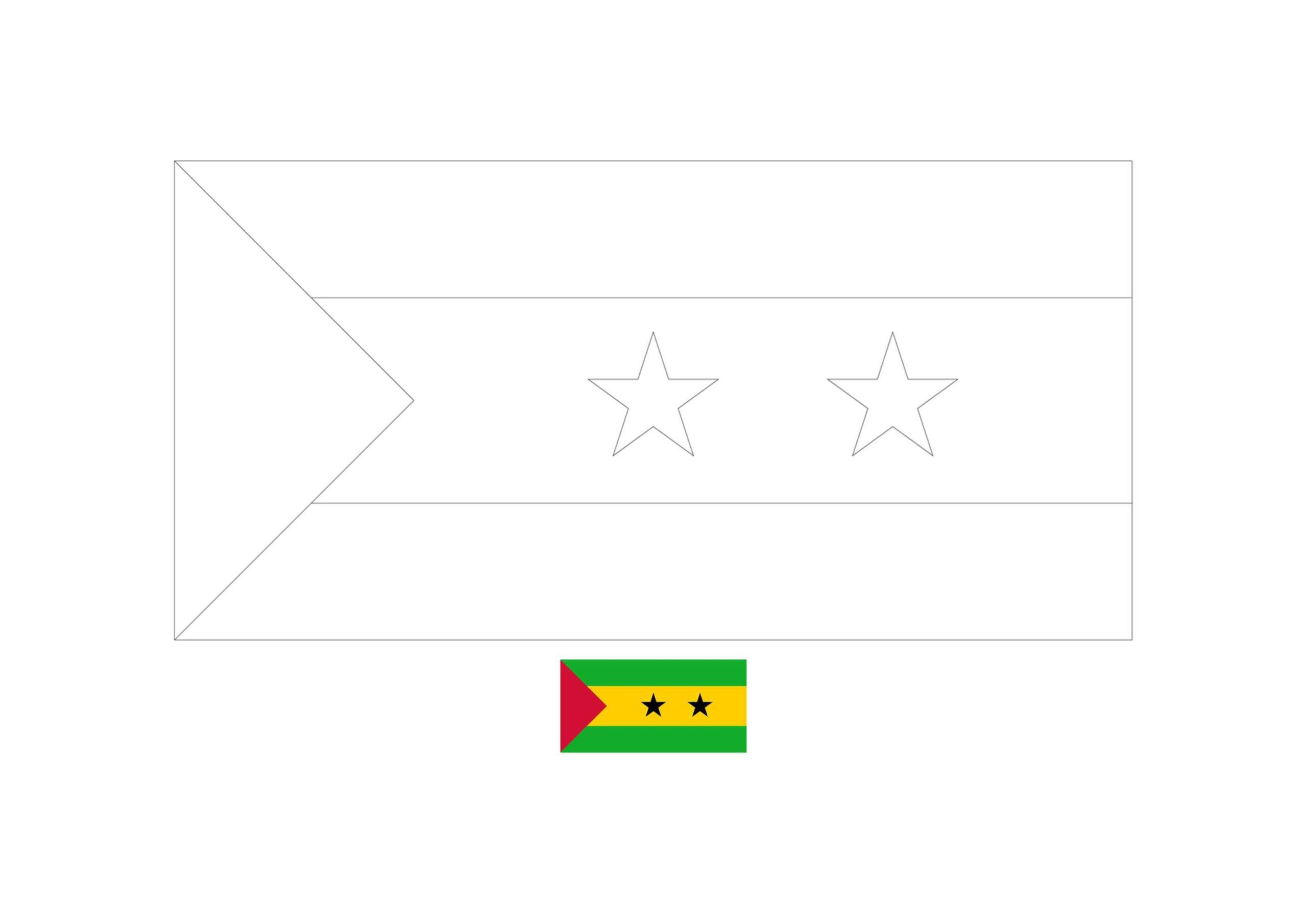 Sao Tome And Principe Flag Coloring Page Flag Coloring Pages