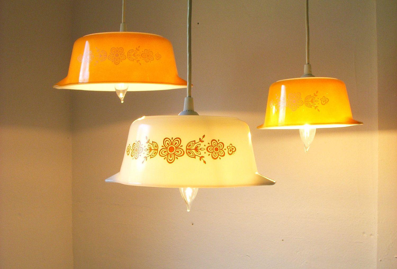 Summer sunlight butterfly gold pattern pyrex pendant lights