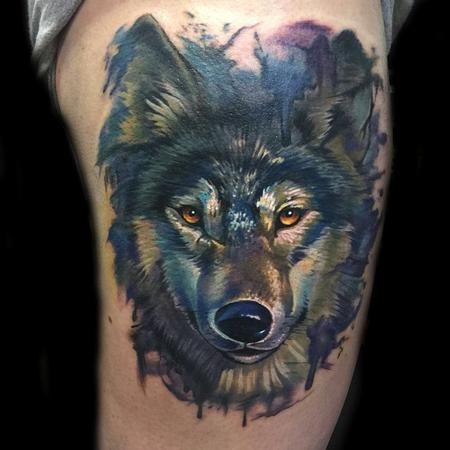 Painterly Watercolor Realistic Wolf Tattoo By Evan Olin Wolf Tattoos Men Wolf Tattoo Wolf Tattoos