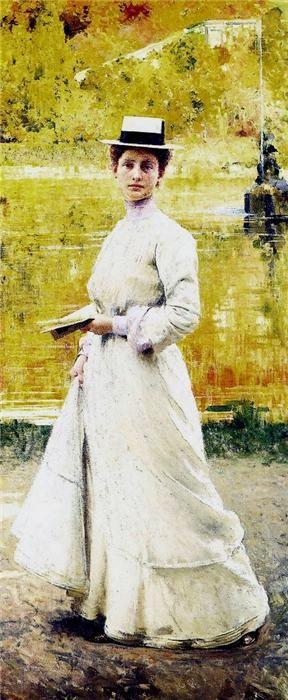"Giacomo Grosso (1860-1938) ""Signora in giardino"" 1902"