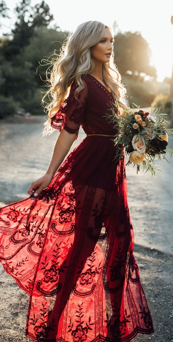 eae8b07a20bd Burgundy Plunge Chain Waist Short Sleeve Split Lace Maxi Dress ...