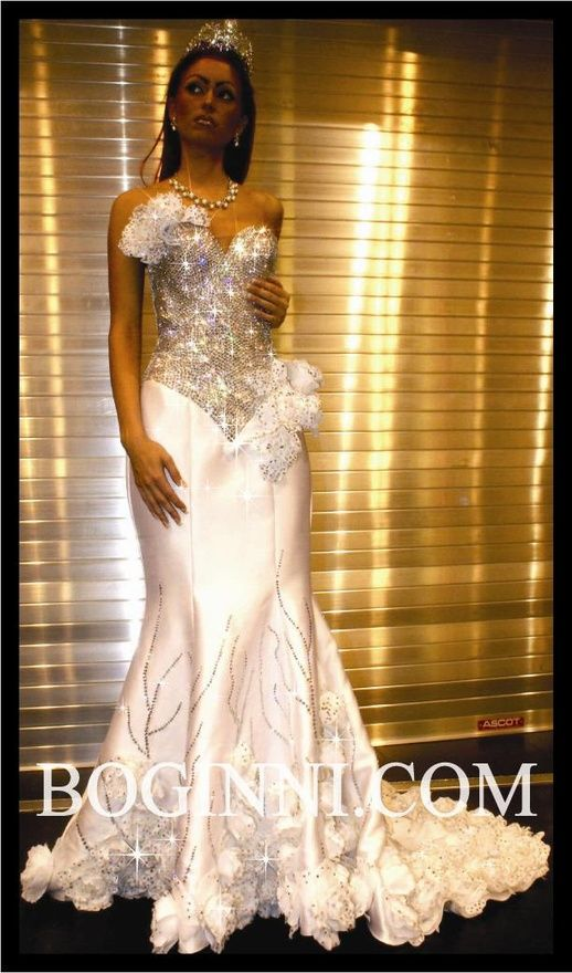 White Swarovski Crystal Corset Wedding Gown Omfg Pearly83