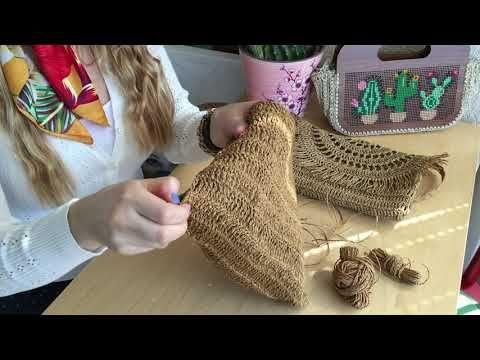 Kağıt ip çanta yapımı, kağıt ipten hasır görünümlü çanta yapımı, clutch çanta yapımı hasır çanta - YouTube