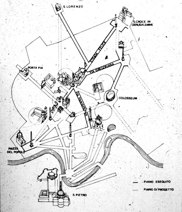 Map Of Romepope Sixtus V1588