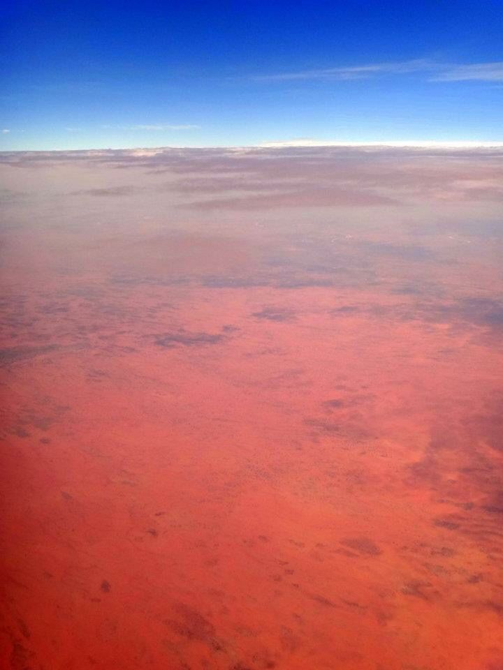 Beautiful colours seen whilst flying over the Simpson Desert in the Northern Territory, Australia
