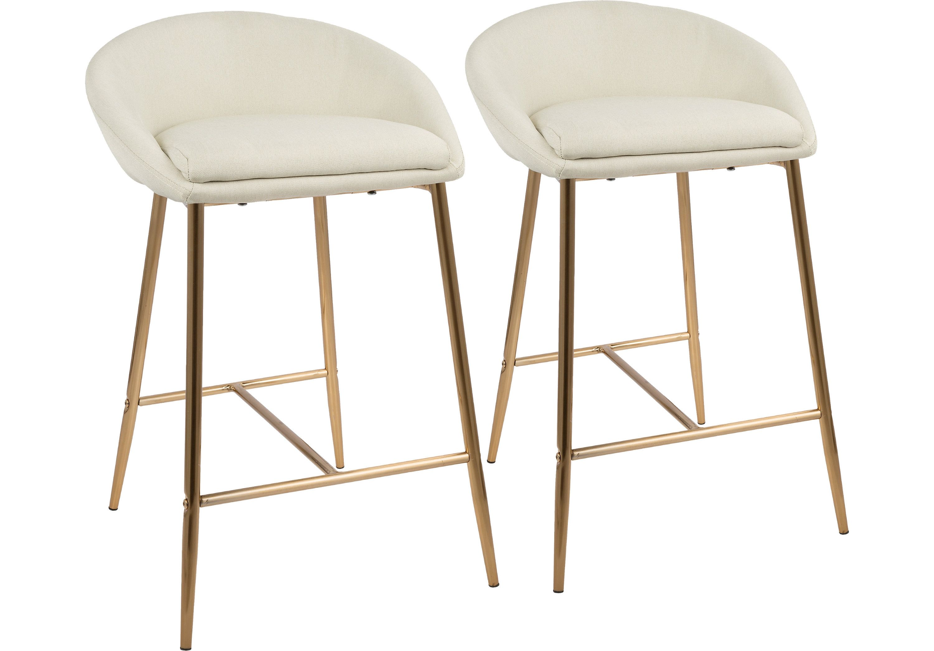 219 Orna Cream Counter Height Stool Set Of 2 Barstools Light