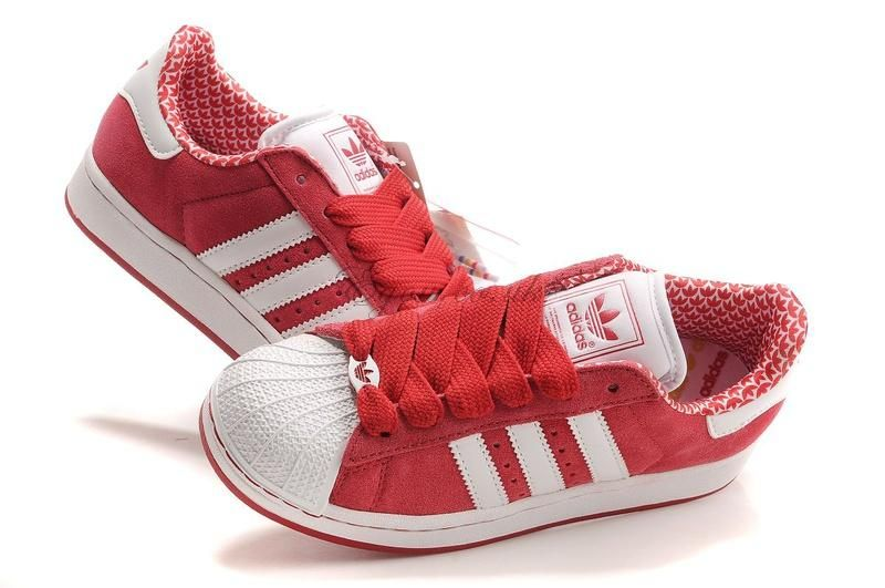 Red shell toe adidas Sneakers, Adidas superstar, Casual