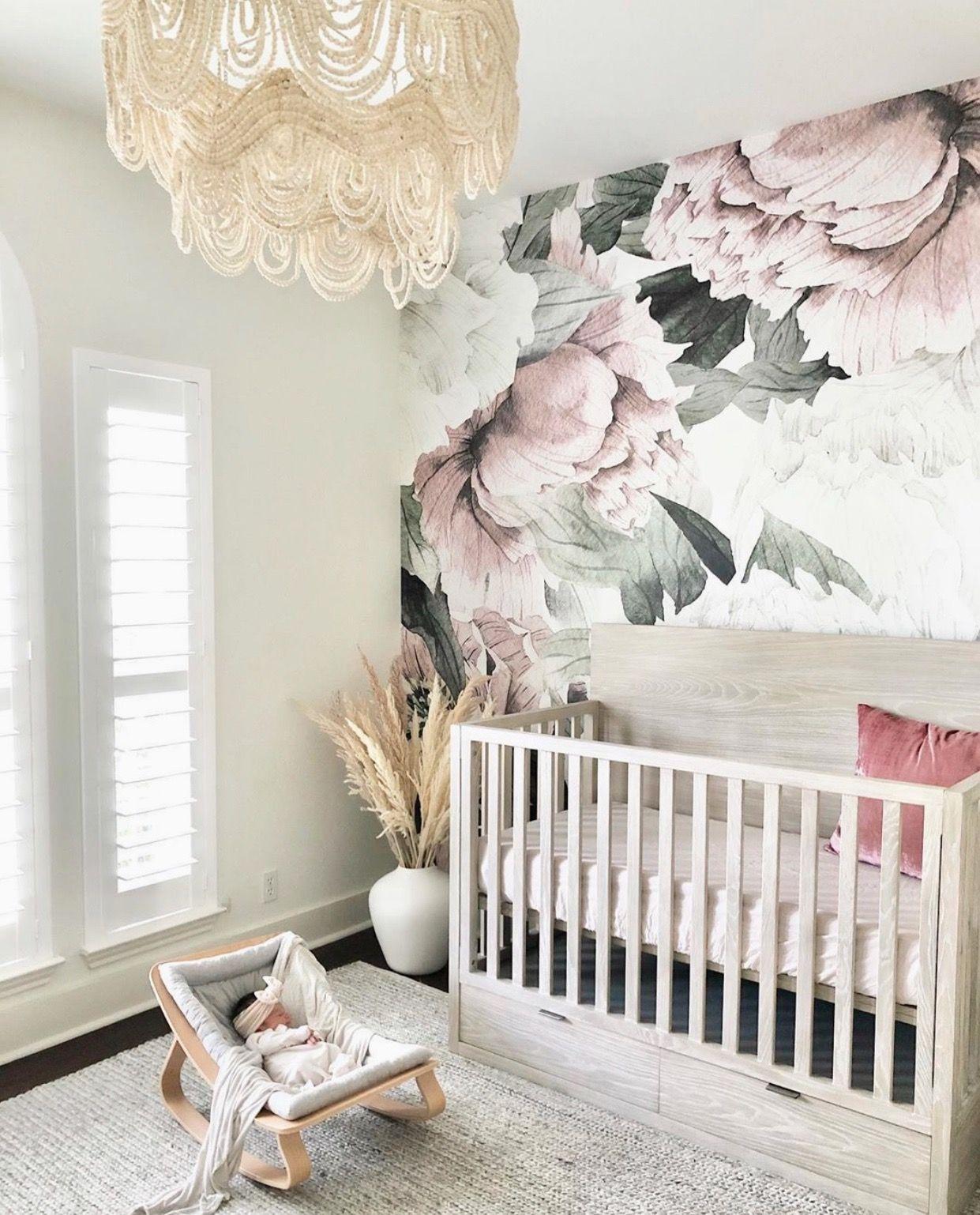 Blush Floral Wallpaper In 2021 Floral Wallpaper Nursery Girl Nursery Room Girl Nursery Wallpaper