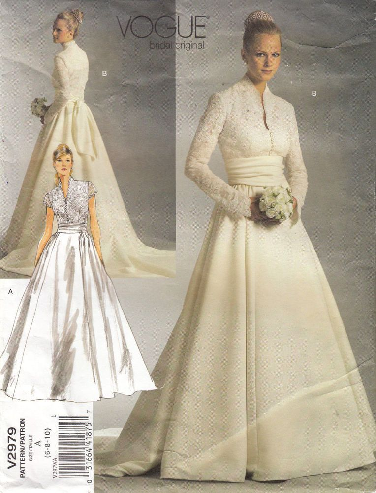 VOGUE 2979 Bridal Gown Wedding Dress Princess Grace Sewing Pattern ...
