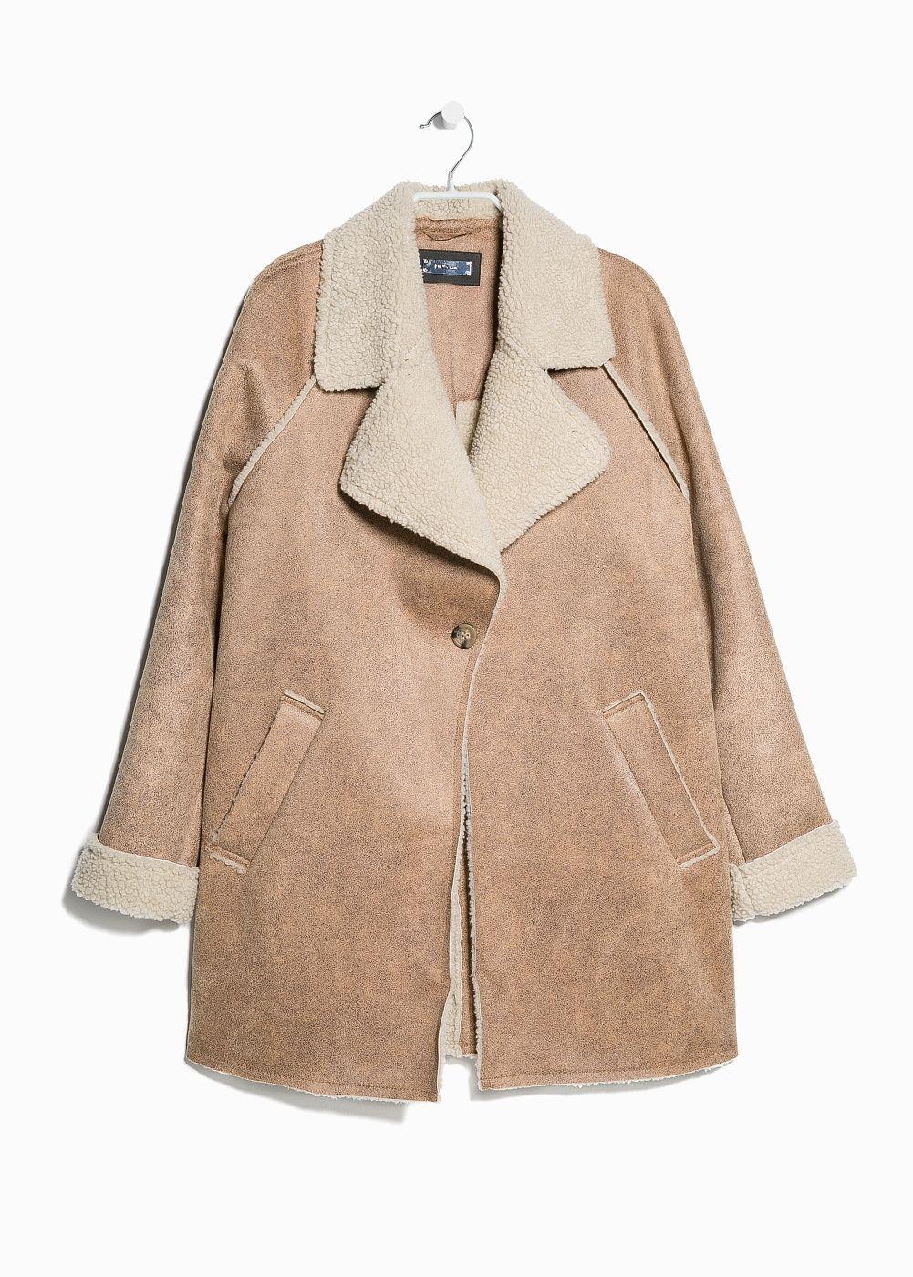 Faux shearling-lined coat | Coats Beautiful and Mango