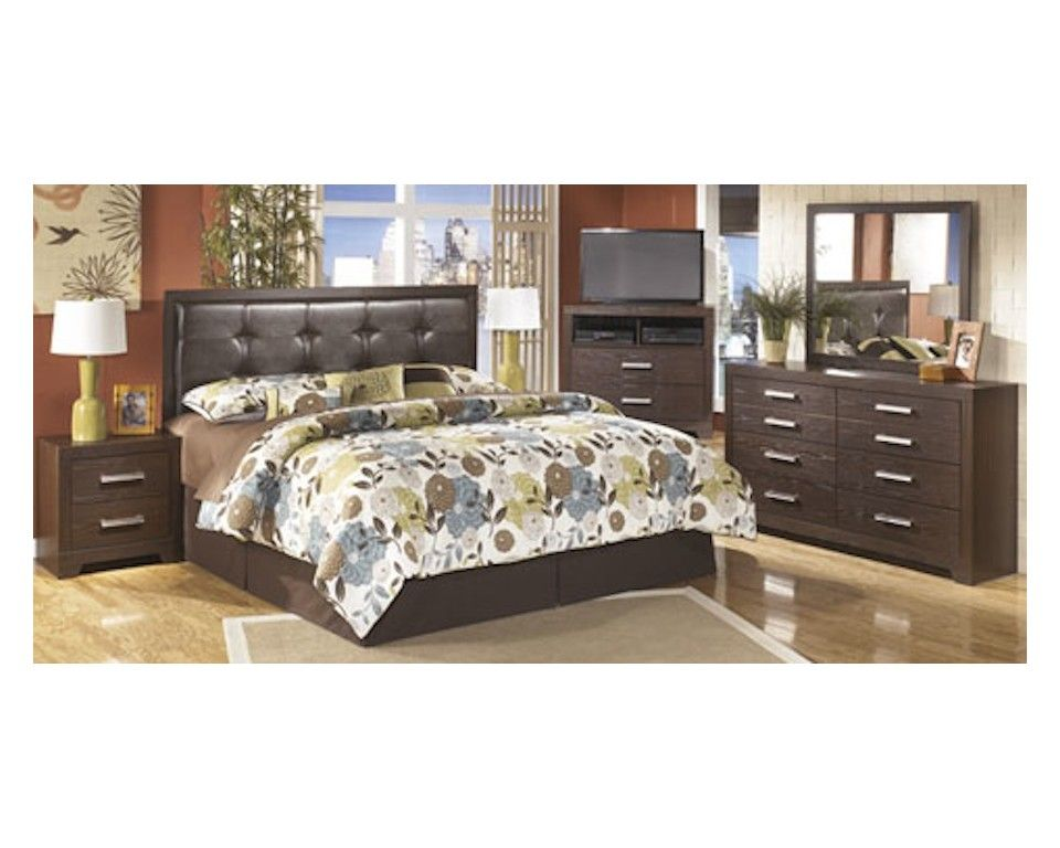 Sam Levitz Furniture In Tucson Az #31 - 4 Piece King UPH Bedroom Set In Brown - Sam Levitz Furniture