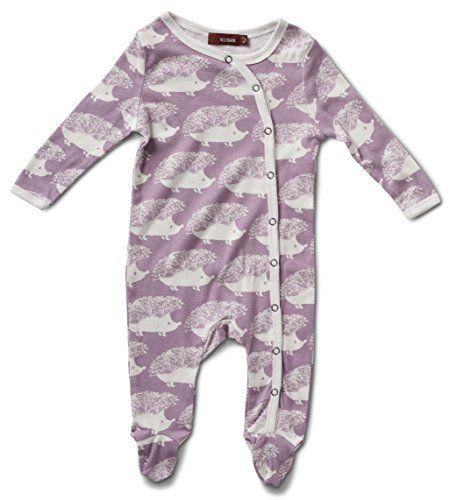 55c54ad95de1 Milkbarn Organic Cotton Long Sleeve Footed Romper Purple Hedgehog 03 ...