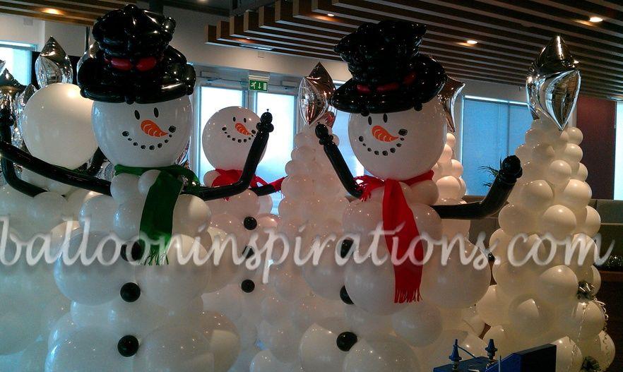 Snowman Balloon Ideas Snowmen Sculptures In A Group