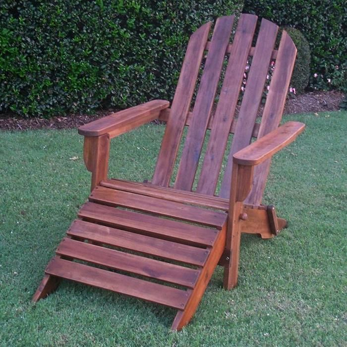 Outdoor Adirondack Chair with Footrest in Brown Nebraska